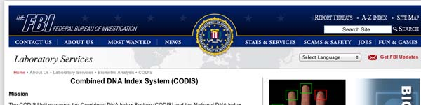FBI: Combined DNA Index System (CODIS)