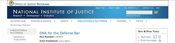 National Institute of Justice: DNA for the Defense Bar