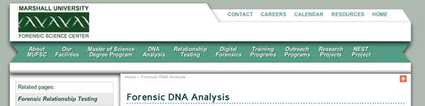 Marshall University Forensic DNA Analysis